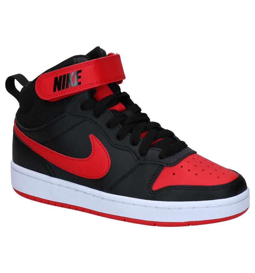 Nike Court Borough Mid Baskets en Noir en cuir (261664)