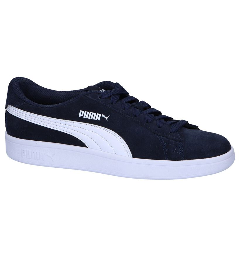 Donkerblauwe Sneakers Puma Smash v2 SD in daim (252632)