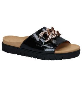 Gabor Best Fitting Zwarte Slippers in lak (288064)