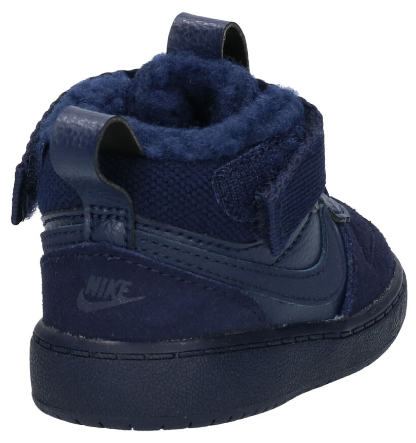 Nike Court Borough Mid Baskets en Bleu en cuir (261732)