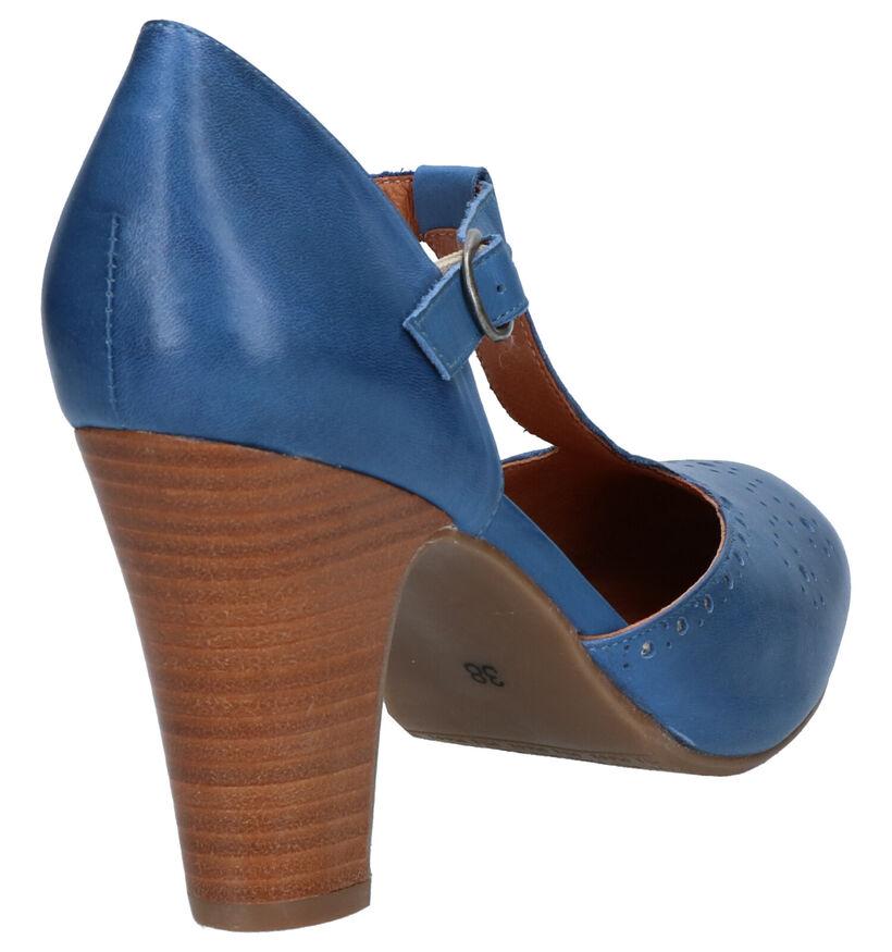 Miz Mooz Escarpins à bride en Bleu foncé en cuir (272226)