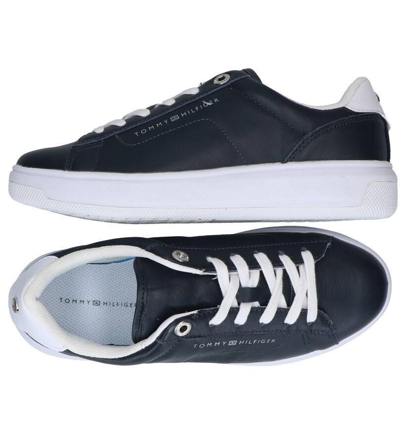 Tommy Hilfiger Leather Cupsole Chaussures à lacets en Bleu en cuir (276234)