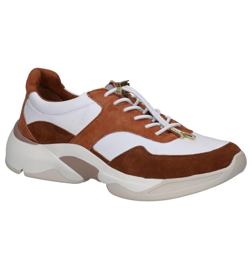 Tamaris Pure Relax Sneakers Wit/Cognac in daim (270216)