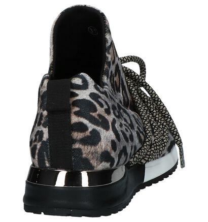Bruine Slip-on Sneakers met Luipaardprint La Strada in stof (236120)