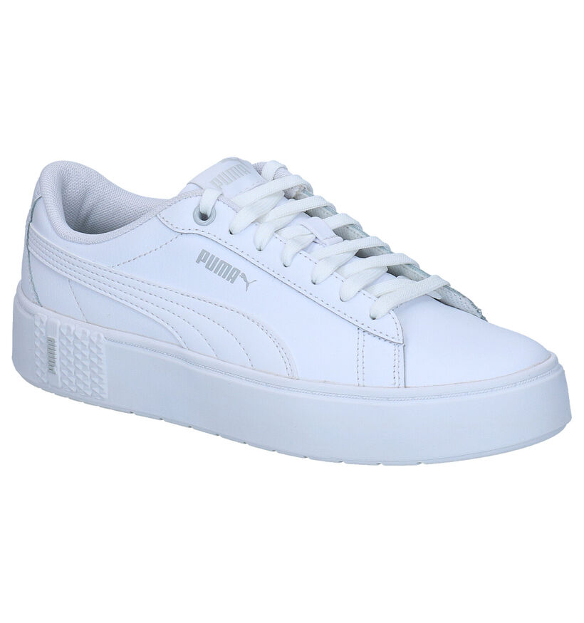 Puma Smash Platform Witte Sneakers in kunstleer (276774)