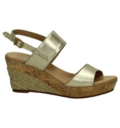 UGG Elana Gouden Sandalen met Sleehak, Goud, pdp