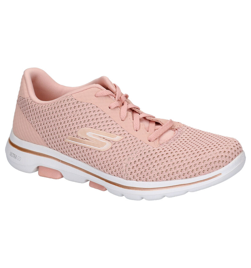 Skechers Baskets basses en Rose saumon en textile (272729)