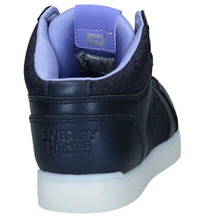 Skechers Energy Lights Baskets basses en Bleu foncé en imitation cuir (222867)