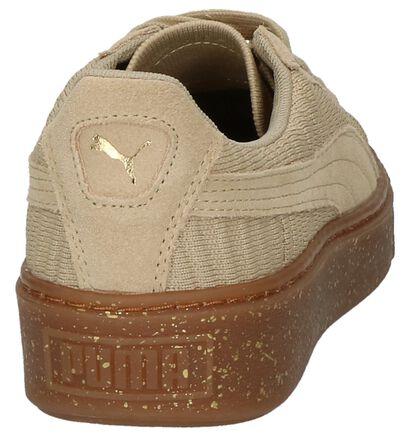 Puma Basket Platform Zwarte Lage Sneakers, Beige, pdp
