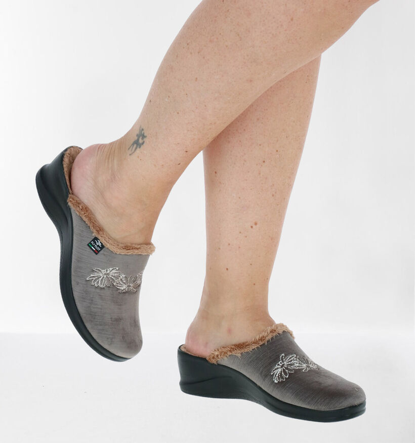 Fly Flot Taupe Pantoffels in stof (281943)