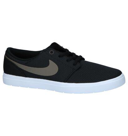 Zwarte Skateschoenen Nike SB Portmore in stof (219433)