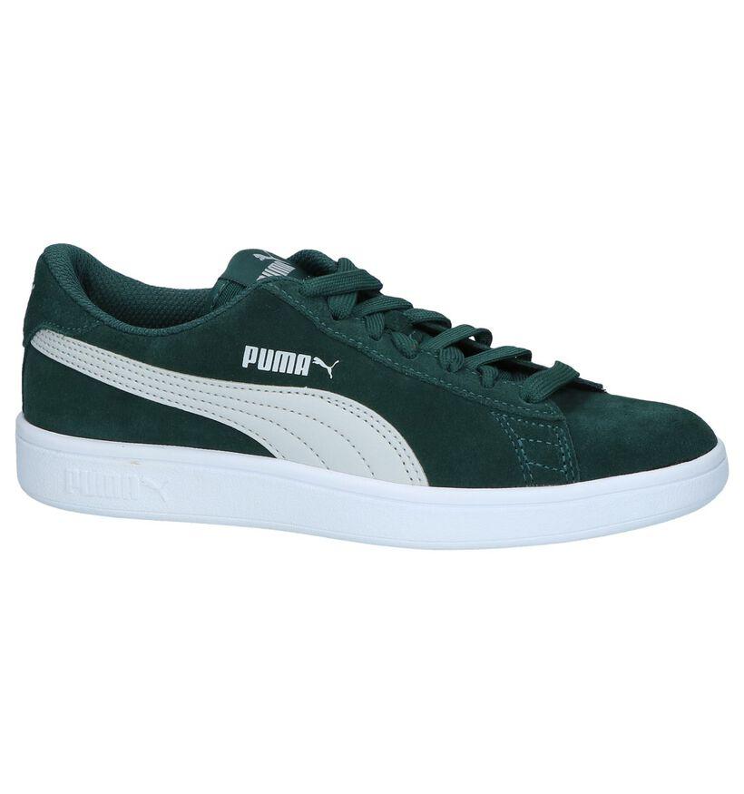 Puma Smash Blauwe Sneakers in leer (265629)