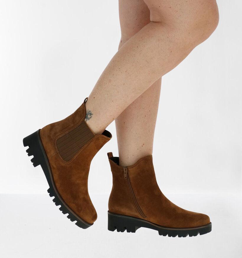 Gabor OptiFit Cognac Chelsea Boots in nubuck (282407)