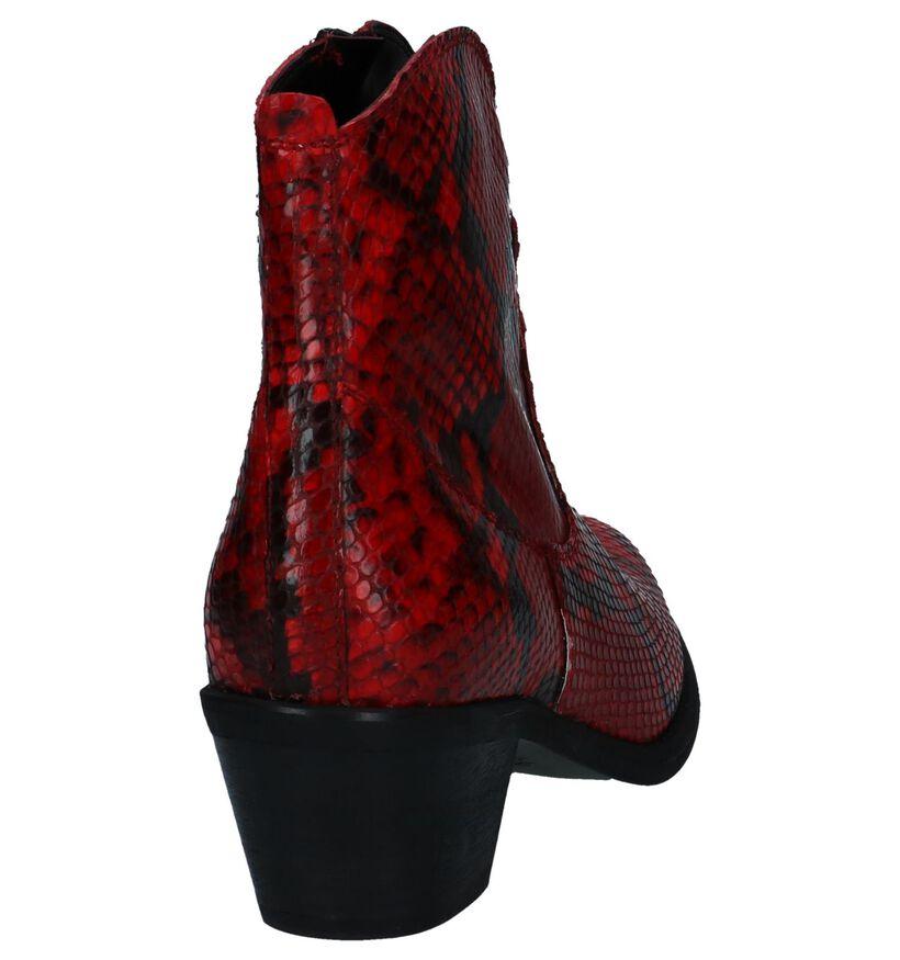 Stoere Rode Western Boots met Slangenprint Via Limone in leer (250525)