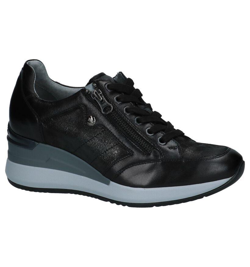 Zwarte Sneakers met Sleehak NeroGiardini in leer (226486)
