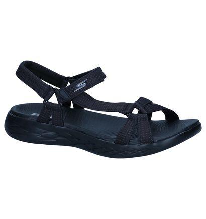Skechers On-The-Go Sandales à talons en Noir en textile (247197)