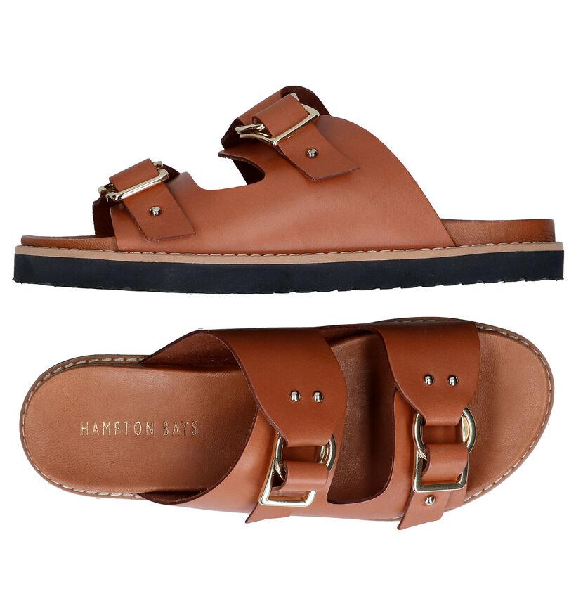 Hampton Bays Cognac Slippers in leer (293025)