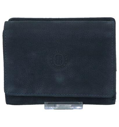 Euro-Leather Donkerblauwe Overslagportemonnee in nubuck (220953)