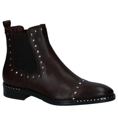 Via Limone Donker Bordeaux Chelsea Boots met Studs in leer (229825)