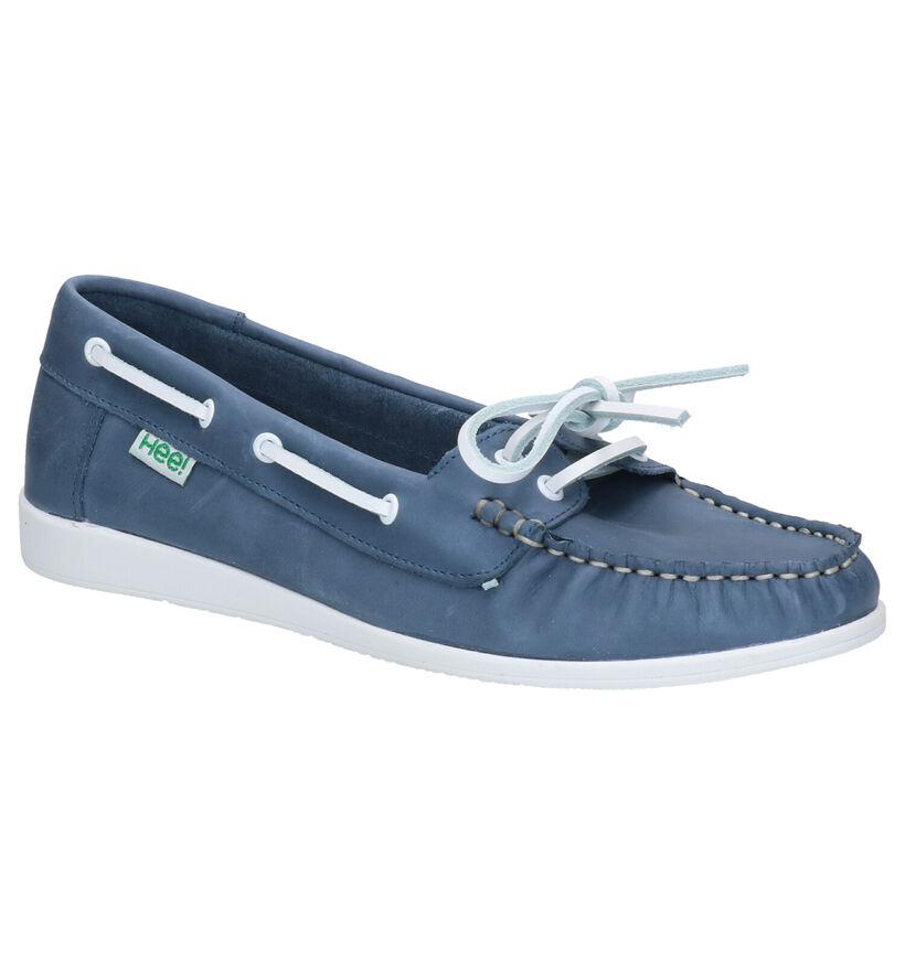 Hee Blauwe Bootschoenen in leer (274036)