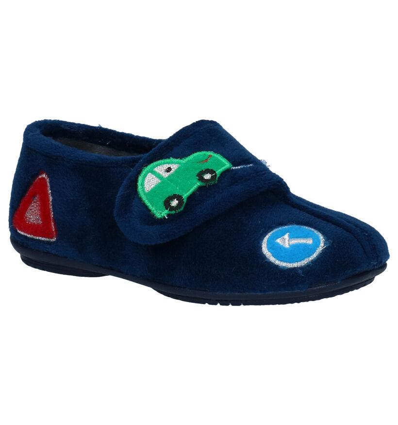 Milo & Mila Blauwe Pantoffels in stof (283926)