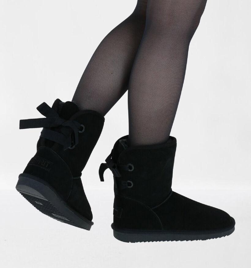 Esprit Luna Bow Bottines en Noir en daim (279761)