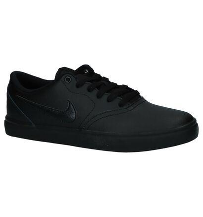 Zwart Lederen Nike SB Check Solar Skateschoenen in leer (234064)
