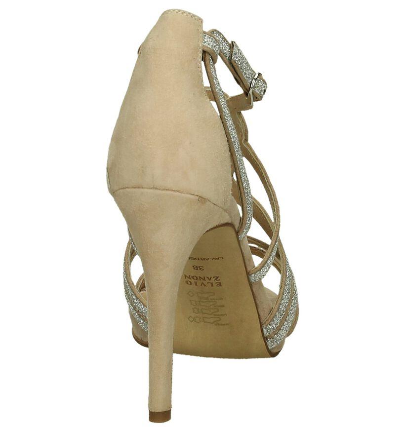 High Heel Sandaal Nude/Zilver Elvia Zanon in daim (194859)