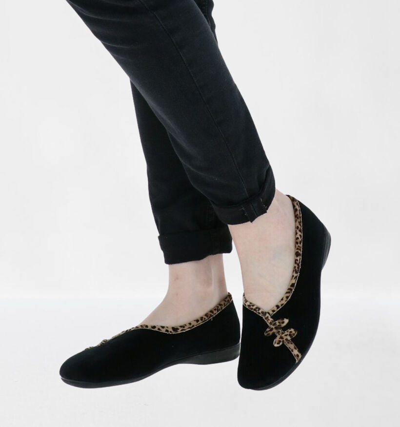 Comfort Plus Zwarte Pantoffels in stof (292887)