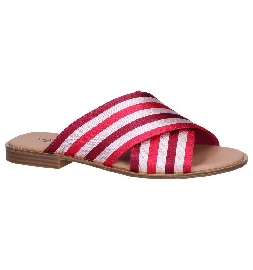 Youh! Nu-pieds plates en Rose fuchsia en textile (239206)
