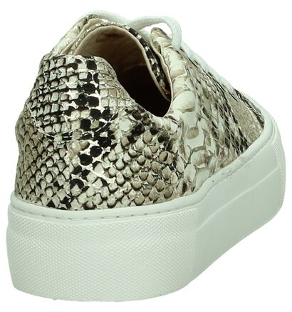 Softwaves Sneakers Beige/Goud met Slangenprint in leer (189317)
