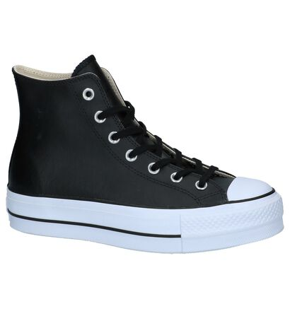 Converse All Star Lift Hi Baskets en Noir en cuir (263348)