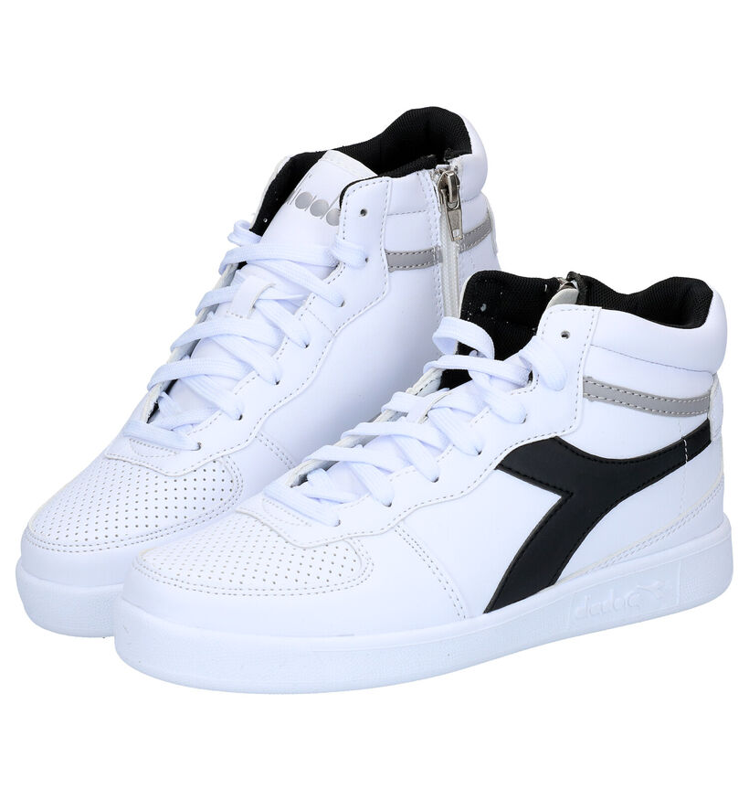 Diadora Playground Witte Hoge Sneakers in kunstleer (277601)