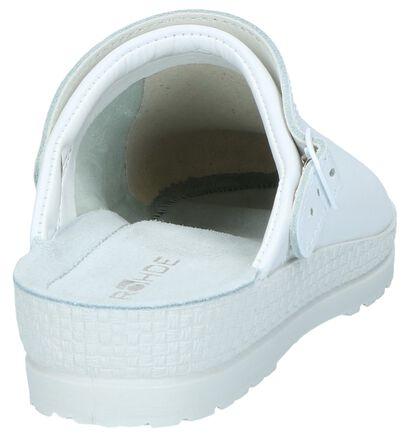Witte Pantoffels Rohde met Verstelbare Sluiting in leer (250635)