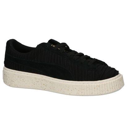 Puma Basket PlatformBaskets basses en Noir en textile (199460)