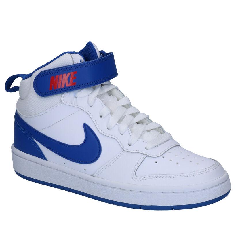 Nike Court Borough Mid Baskets en Blanc en cuir (261663)