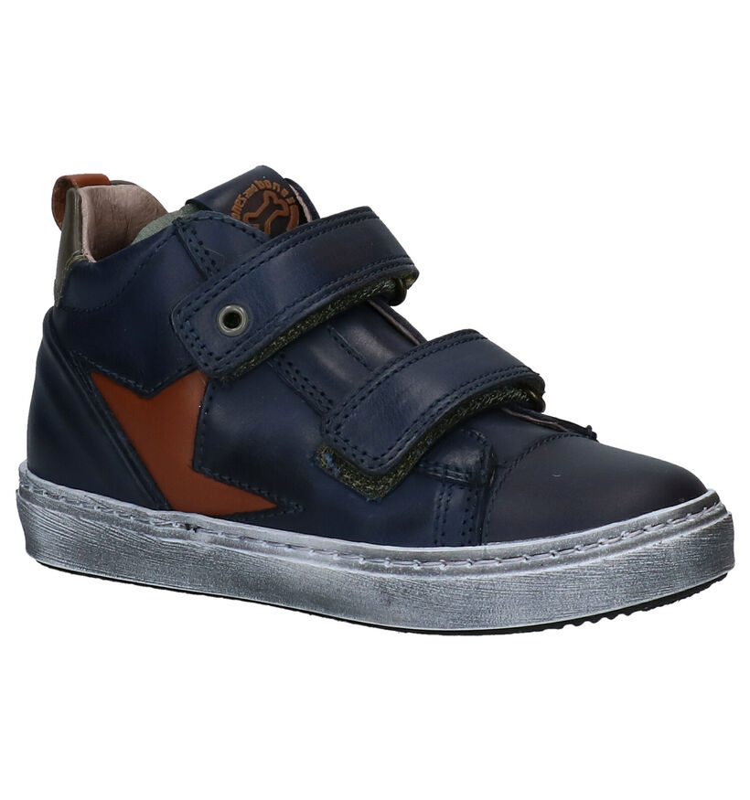 STONES and BONES Irvin Bottines Velcro en Bleu en cuir (280377)