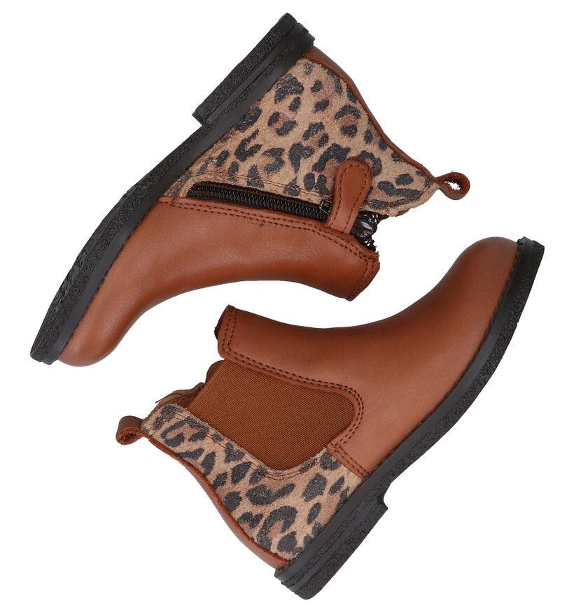 Milo & Mila Agon Leopard Bottines Chelsea en Cognac en cuir (281052)