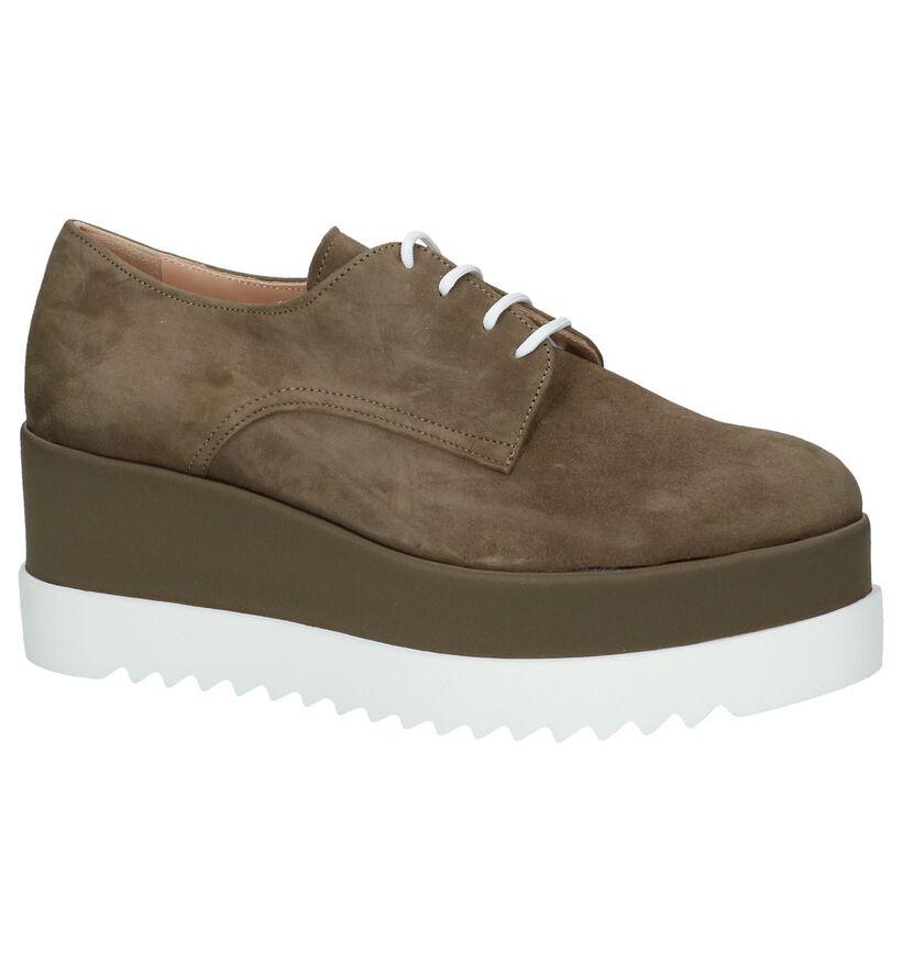 Via Limone Chaussures à lacets en Vert kaki en daim (220343)