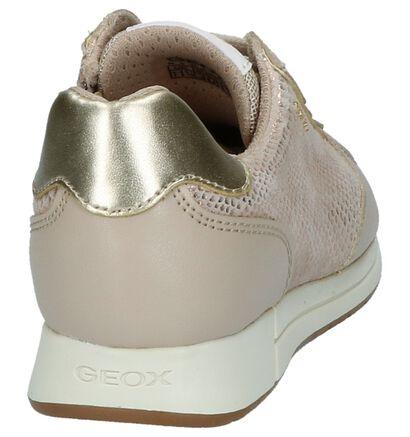 Taupe Sneakers Rits/Veter Geox in leer (210492)
