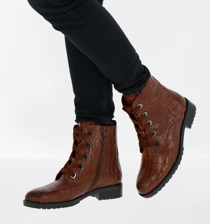 Gabor OptiFit Bottines en Cognac en cuir (282298)