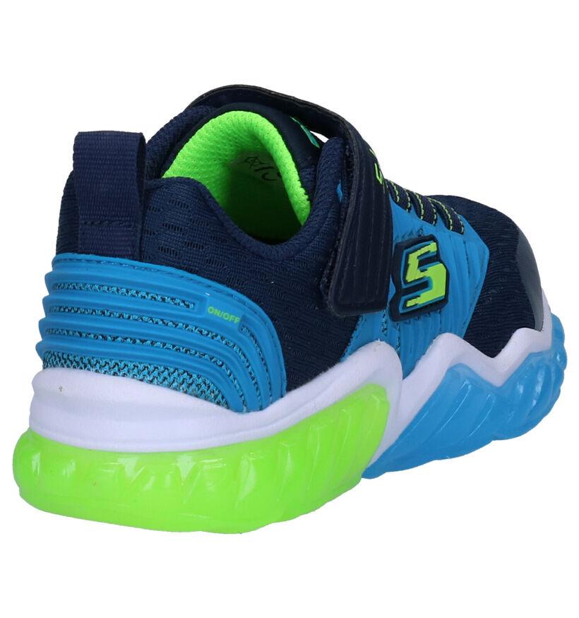 Skechers S Lights Baskets en Bleu en simili cuir (277919)