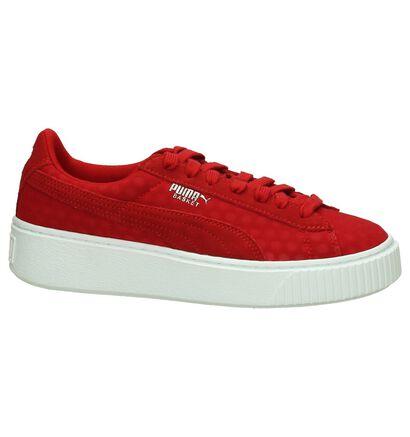 Puma Basket Platform Zwarte Sneakers, Rood, pdp