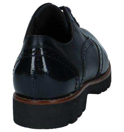 Jana Chaussures à lacets en Bleu foncé en cuir verni (225911)