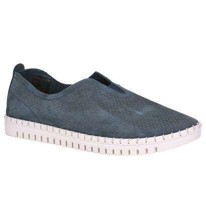 Tamaris Chaussures slip-on en Bleu foncé en nubuck (277351)
