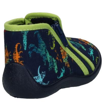 Milo & Mila Blauwe Pantoffels in stof (261149)