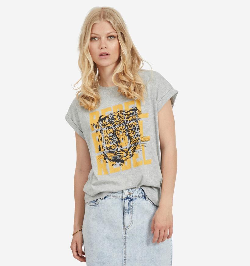 Vila Grijze T-shirt korte mouwen (283565)
