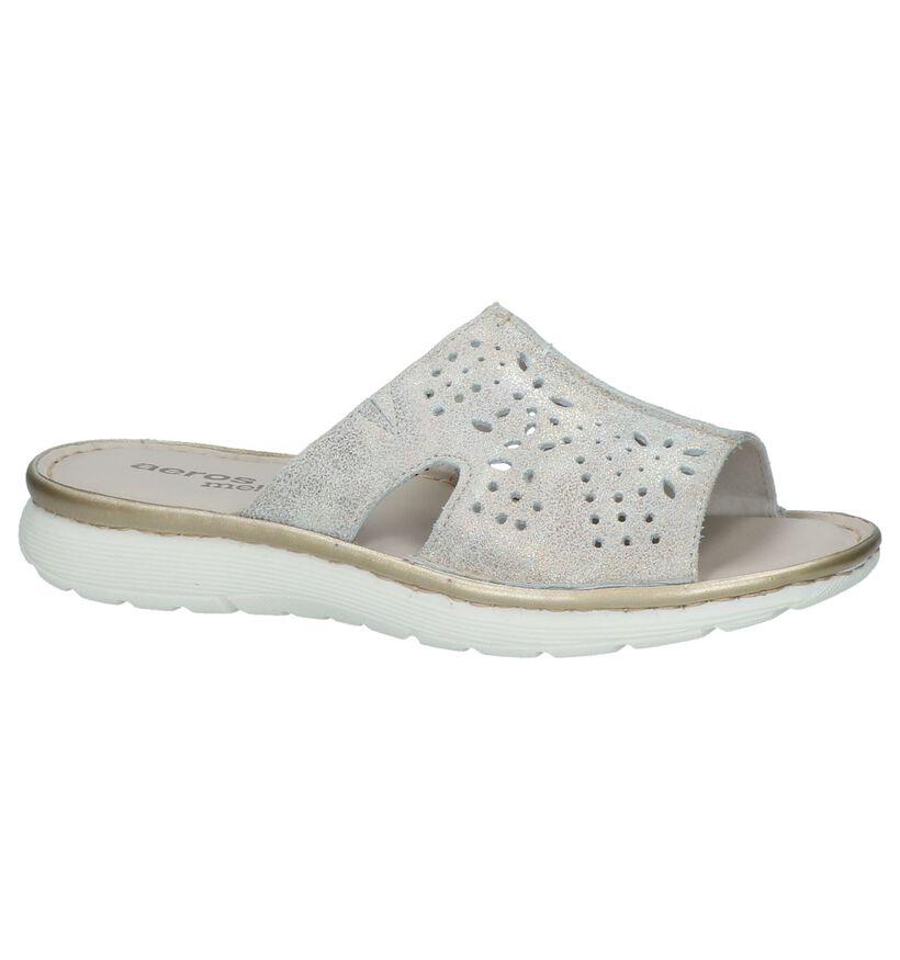 Aeros Zilveren Slippers in leer (219719)