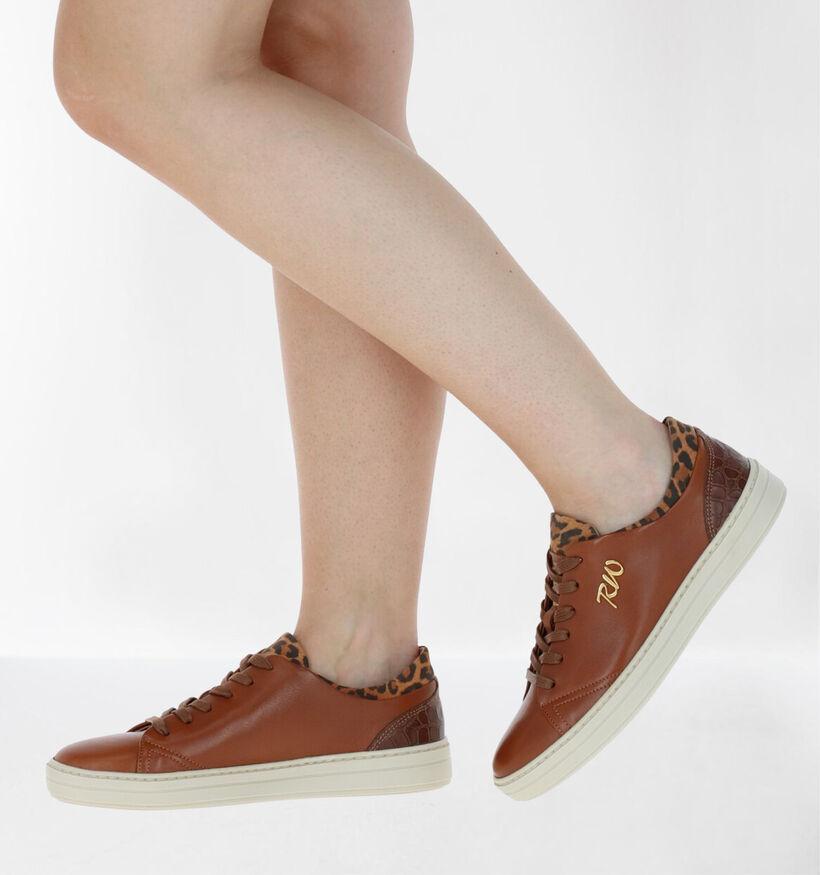 River Woods Elvira Chaussures à Lacets en Cognac en cuir (281958)