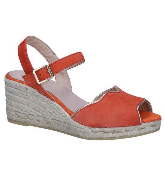 Oranje Sandalen met Sleehak Kanna